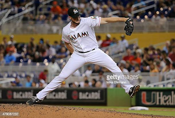 Carter Capps of the Miami Marlins pitches during a game against the San Francisco Giants at Marlins Park on June 30 2015 in Miami Florida