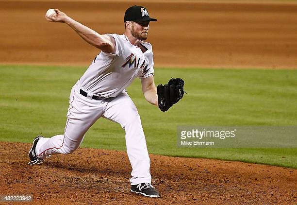 Carter Capps of the Miami Marlins pitches during a game against the Washington Nationals at Marlins Park on July 28 2015 in Miami Florida