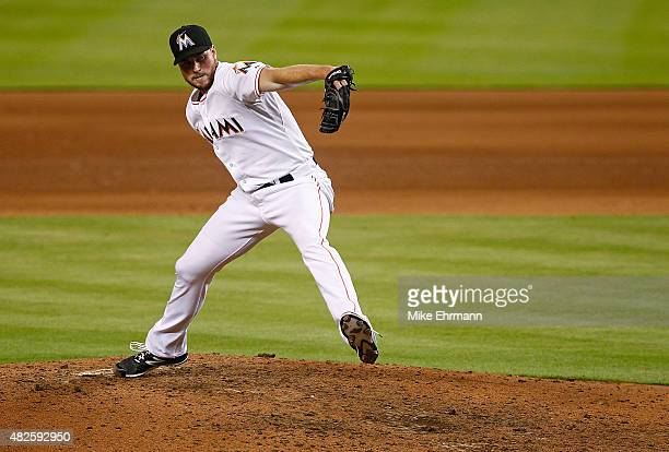 Carter Capps of the Miami Marlins pitches during a game against the San Diego Padres at Marlins Park on July 31 2015 in Miami Florida