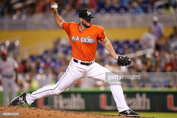 Carter Capps of the Miami Marlins pitches during the game against the Cincinnati Reds at Marlins Park on July 12 2015 in Miami Florida
