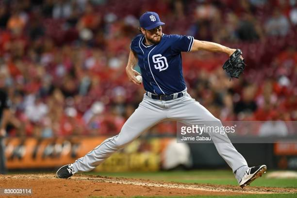 Carter Capps of the San Diego Padres pitches against the Cincinnati Reds at Great American Ball Park on August 9 2017 in Cincinnati Ohio