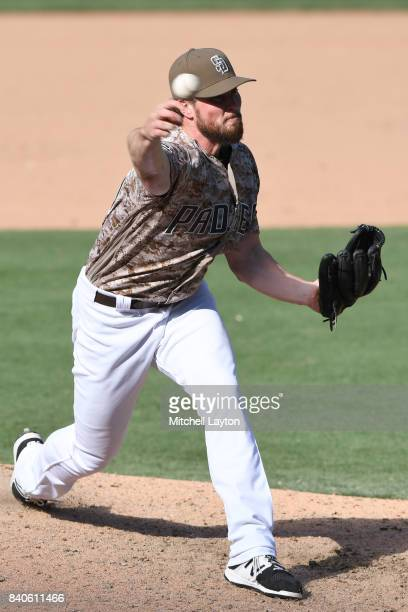 Carter Capps of the San Diego Padres pitches during a baseball game against the Washington Nationals at Petco Park on August 20 2017 in San Diego...