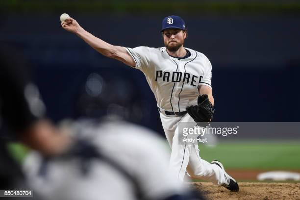 Carter Capps of the San Diego Padres pitches during the game against the Philadelphia Phillies at Petco Park on August 15 2017 in San Diego California