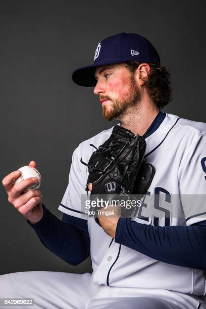 Carter Capps of the San Diego Padres poses for a portrait at the Peoria Sports Complex on February 19 2017 in Peoria Arizona