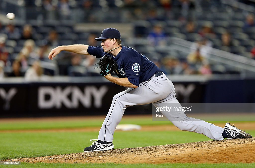 Carter Capps #58 of the Seattle Mariners delivers a pitch against the New York Yankees on May 14, 2013 at Yankee Stadium in the Bronx borough of New York City.The New York Yankees defeated the Seattle Mariners 4-3.