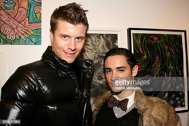 Carter Cramer and Adrien Field attend PAPERCUT Inaugural Exhibition to Celebrate the Print Making Process at Heist Gallery on December 13 2008 in New...