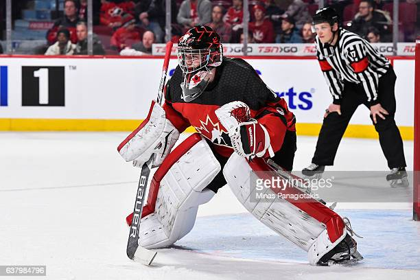 Carter Hart of Team Canada protects his net during the 2017 IIHF World Junior Championship semifinal game against Team Sweden at the Bell Centre on...