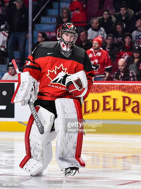 Carter Hart of Team Canada skates during the 2017 IIHF World Junior Championship gold medal game against Team United States at the Bell Centre on...
