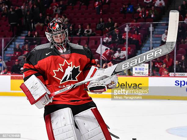 Carter Hart of Team Canada skates during the warmup prior to the 2017 IIHF World Junior Championship quarterfinal game against Team Czech Republic at...