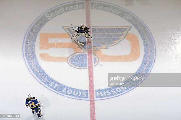 Carter Hutton and Jake Allen of the St Louis Blues warm up prior to a game against the Tampa Bay Lightning at the Scottrade Center on December 1 2016...