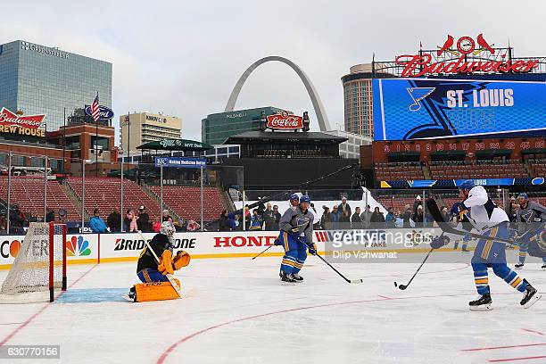 Carter Hutton of the St Louis Blues defends the goal during the 2017 Bridgestone NHL Winter Classic Practice Day at Busch Stadium on January 1 2017...