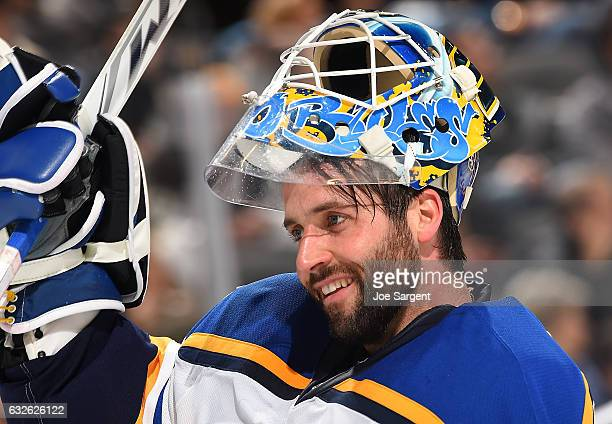 Carter Hutton of the St Louis Blues looks on against the Pittsburgh Penguins at PPG Paints Arena on January 24 2017 in Pittsburgh Pennsylvania