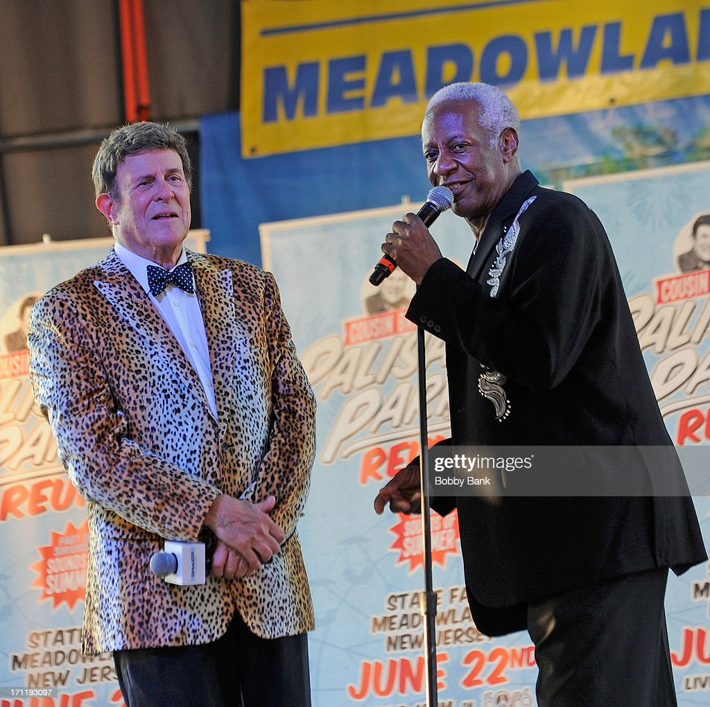 J.T. Carter of the Crests and Bruce Morrow (L) attend the Cousin Brucie's First Annual Palisades Park Reunion Presented By SiriusXM at State Fair Meadowlands on June 22, 2013 in East Rutherford, New Jersey.