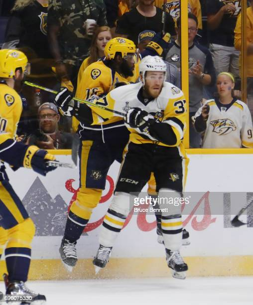 Carter Rowney of the Pittsburgh Penguins skates against PK Subban of the Nashville Predators in Game Six of the 2017 NHL Stanley Cup Final at the...