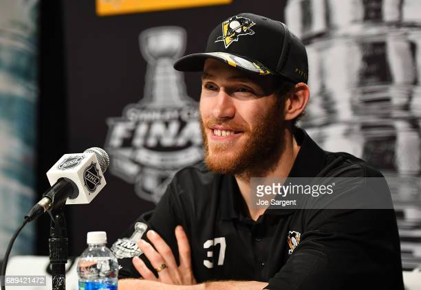 Carter Rowney of the Pittsburgh Penguins speaks with the media during Media Day for the 2017 NHL Stanley Cup Final at PPG Paints Arena on May 28 2017...