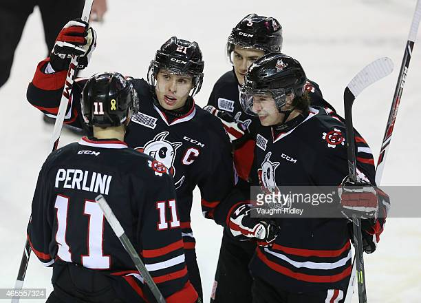 Carter Verhaeghe of the Niagara IceDogs celebrates a goal with Brendan Perlini Vince Dunn and Blake Siebenaler during an OHL game against the Ottawa...