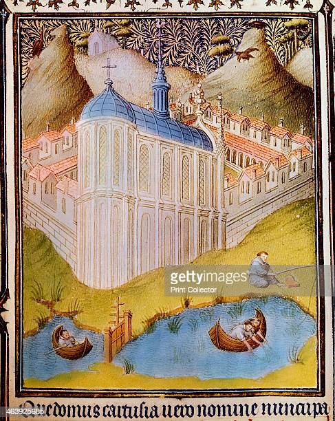 Carthusian monks netting and hooking fish in monastery fishponds at Chartreuse France 15th century The monastery at Chartreuse was founded by St...