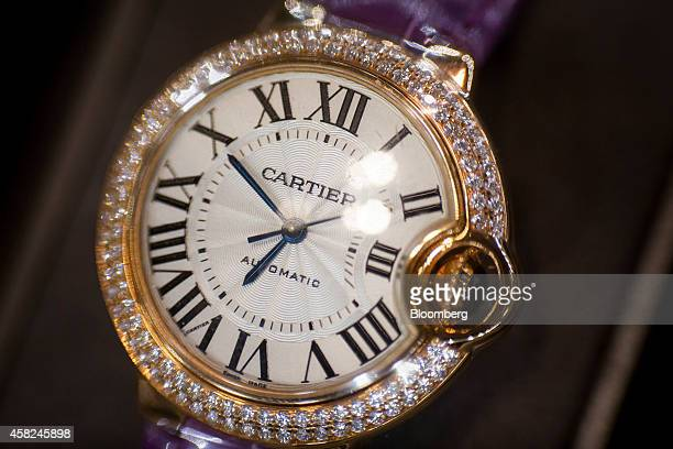 A Cartier a luxury unit of Cie Financiere Richemont SA Ballon Bleu watch sits on display ahead of Daylight Saving Time at the Tourneau Inc...