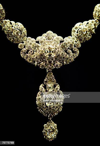 Cartier diamond and platinum necklace is displayed at the 'Royal Wedding 20 Novermber 1957' exhibition at Buckingham Palace on July 27 2007 in London...