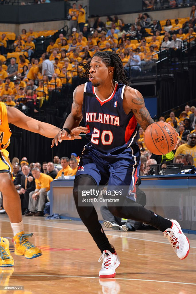 <a gi-track='captionPersonalityLinkClicked' href=/galleries/search?phrase=Cartier+Martin&family=editorial&specificpeople=834581 ng-click='$event.stopPropagation()'>Cartier Martin</a> #20 of the Atlanta Hawks dribbles the ball during Game One of the Eastern Conference Quarterfinals against the Indiana Pacers during the 2014 NBA Playoffs on April 19, 2014 at Bankers Life Fieldhouse in Indianapolis, Indiana.