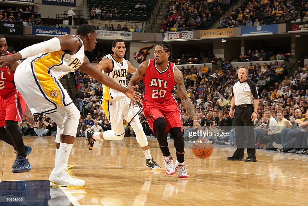 <a gi-track='captionPersonalityLinkClicked' href=/galleries/search?phrase=Cartier+Martin&family=editorial&specificpeople=834581 ng-click='$event.stopPropagation()'>Cartier Martin</a> #20 of the Atlanta Hawks drives against the Indiana Pacers at Bankers Life Fieldhouse on February 18, 2014 in Indianapolis, Indiana.