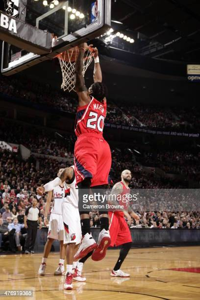 Cartier Martin of the Atlanta Hawks dunks against the Portland Trail Blazers on March 5 2014 at the Moda Center Arena in Portland Oregon NOTE TO USER...