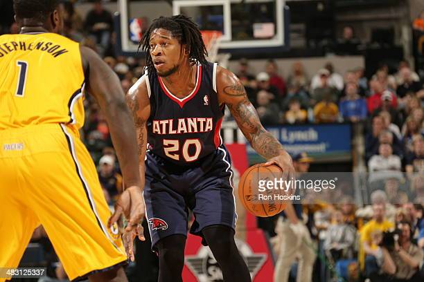 Cartier Martin of the Atlanta Hawks handles the ball against the Indiana Pacers at Bankers Life Fieldhouse on April 6 2014 in Indianapolis Indiana...