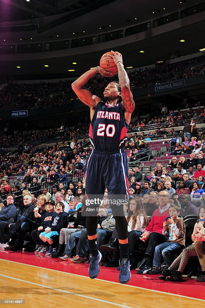 <a gi-track='captionPersonalityLinkClicked' href=/galleries/search?phrase=Cartier+Martin&family=editorial&specificpeople=834581 ng-click='$event.stopPropagation()'>Cartier Martin</a> #20 of the Atlanta Hawks shoots against the Detroit Pistons on November 22, 2013 at The Palace of Auburn Hills in Auburn Hills, Michigan.
