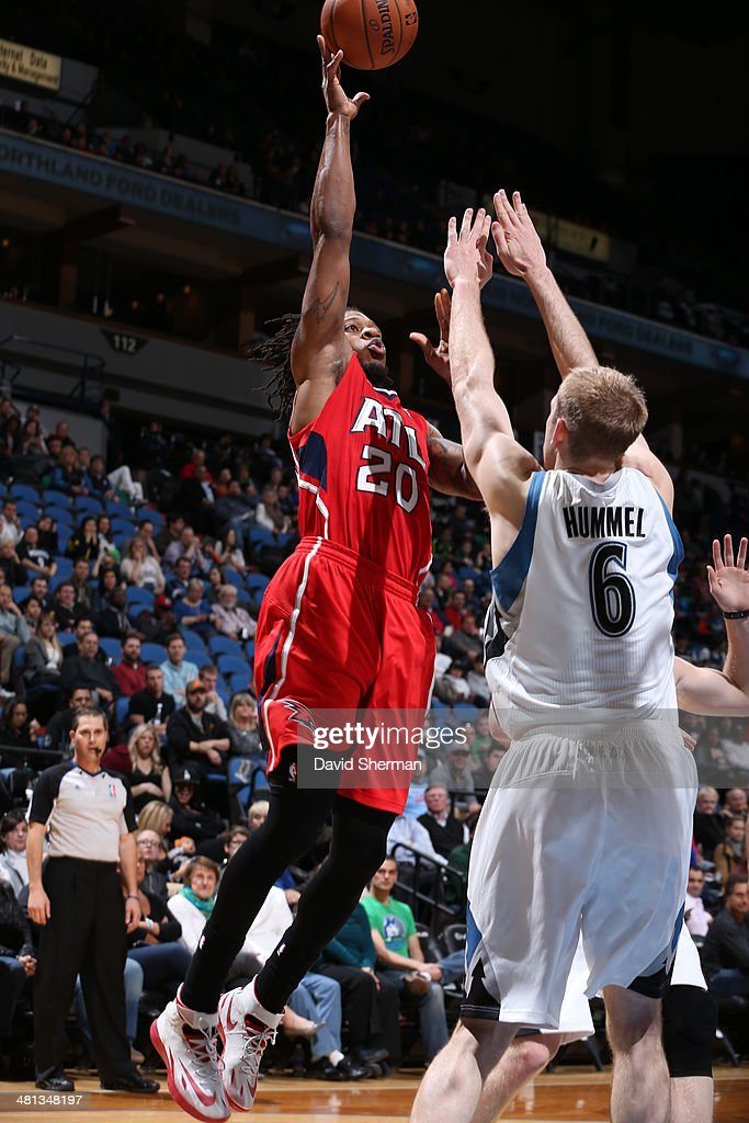 <a gi-track='captionPersonalityLinkClicked' href=/galleries/search?phrase=Cartier+Martin&family=editorial&specificpeople=834581 ng-click='$event.stopPropagation()'>Cartier Martin</a> #20 of the Atlanta Hawks shoots against the Minnesota Timberwolves on March 26, 2014 at Target Center in Minneapolis, Minnesota.