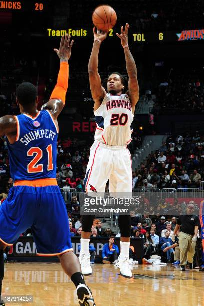 Cartier Martin of the Atlanta Hawks shoots the ball against the New York Knicks on November 13 2013 at Philips Arena in Atlanta Georgia NOTE TO USER...
