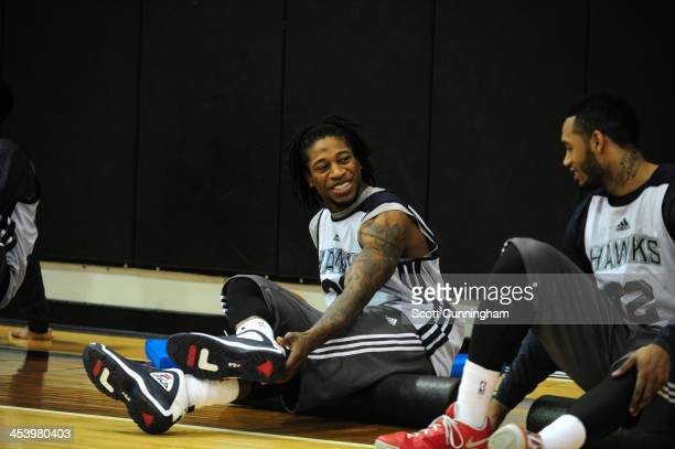 Cartier Martin of the Atlanta Hawks smiles during practice on December 5 2013 at Philips Arena in Atlanta Georgia NOTE TO USER User expressly...