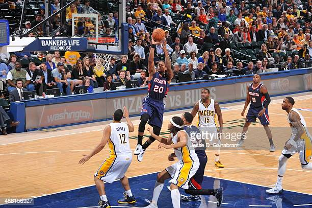 Cartier Martin of the Atlanta Hawks takes a shot against the Indiana Pacers in Game Two of the Eastern Conference Quarterfinals during the 2014 NBA...