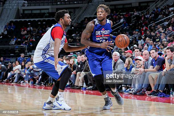 Cartier Martin of the Detroit Pistons dribbles the ball during an Open Practice on October 3 2015 at The Palace of Auburn Hills in Auburn Hills...