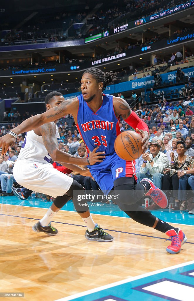 <a gi-track='captionPersonalityLinkClicked' href=/galleries/search?phrase=Cartier+Martin&family=editorial&specificpeople=834581 ng-click='$event.stopPropagation()'>Cartier Martin</a> #35 of the Detroit Pistons drives against the Charlotte Hornets on April 1, 2015 at Time Warner Cable Arena in Charlotte, North Carolina.