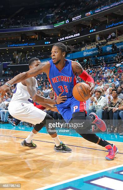 Cartier Martin of the Detroit Pistons drives against the Charlotte Hornets on April 1 2015 at Time Warner Cable Arena in Charlotte North Carolina...