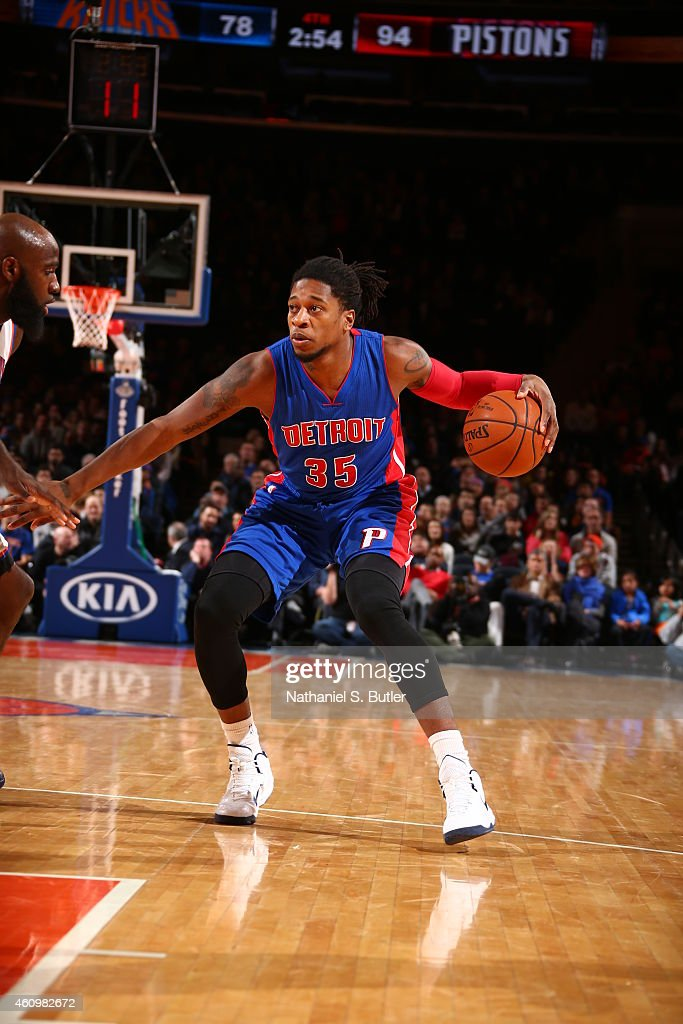 <a gi-track='captionPersonalityLinkClicked' href=/galleries/search?phrase=Cartier+Martin&family=editorial&specificpeople=834581 ng-click='$event.stopPropagation()'>Cartier Martin</a> #35 of the Detroit Pistons handles the ball against the New York Knicks during the game on January 2, 2015 at Madison Square Garden in New York City, New York.