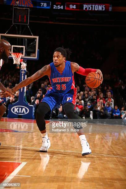 Cartier Martin of the Detroit Pistons handles the ball against the New York Knicks during the game on January 2 2015 at Madison Square Garden in New...