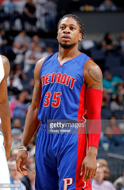 Cartier Martin of the Detroit Pistons looks on during the game against the Charlotte Hornets on April 1 2015 at Time Warner Cable Arena in Charlotte...