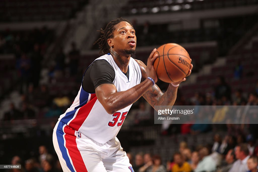 <a gi-track='captionPersonalityLinkClicked' href=/galleries/search?phrase=Cartier+Martin&family=editorial&specificpeople=834581 ng-click='$event.stopPropagation()'>Cartier Martin</a> #35 of the Detroit Pistons shoots a free throw against the Philadelphia 76ers during the pre-season game on October 23, 2014 at The Palace of Auburn Hills in Auburn Hills, Michigan.