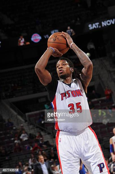 Cartier Martin of the Detroit Pistons shoots against the Philadelphia 76ers on October 23 2014 at The Palace of Auburn Hills in Auburn Hills Michigan...