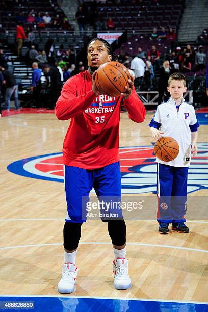 Cartier Martin of the Detroit Pistons warms up before the game against the Miami Heat during the game on April 4 2015 at The Palace of Auburn Hills...