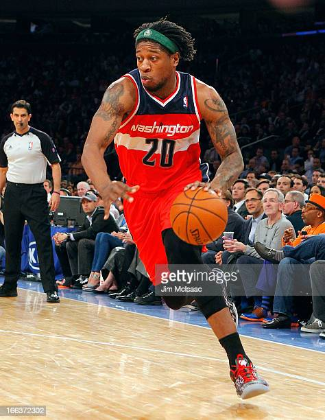 Cartier Martin of the Washington Wizards in action against the New York Knicks at Madison Square Garden on April 9 2013 in New York City The Knicks...