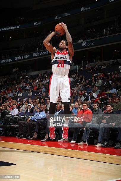 Cartier Martin of the Washington Wizards shoots against the Milwaukee Bucks on April 18 2012 at the Verizon Center in Washington DC NOTE TO USER User...
