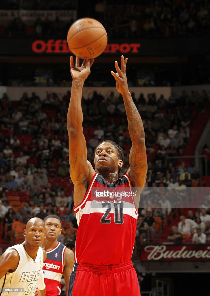 Cartier Martin #20 of the Washington Wizards shoots the ball during a game between the Washington Wizards and the Miami Heat on December 15, 2012 at American Airlines Arena in Miami, Florida.