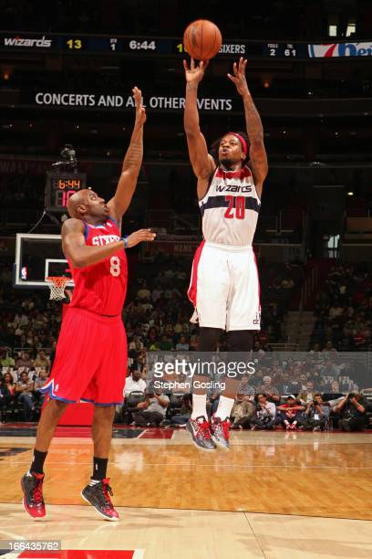 Cartier Martin of the Washington Wizards takes a shot against the Philadelphia 76ers at the Verizon Center on April 12 2013 in Washington DC NOTE TO...