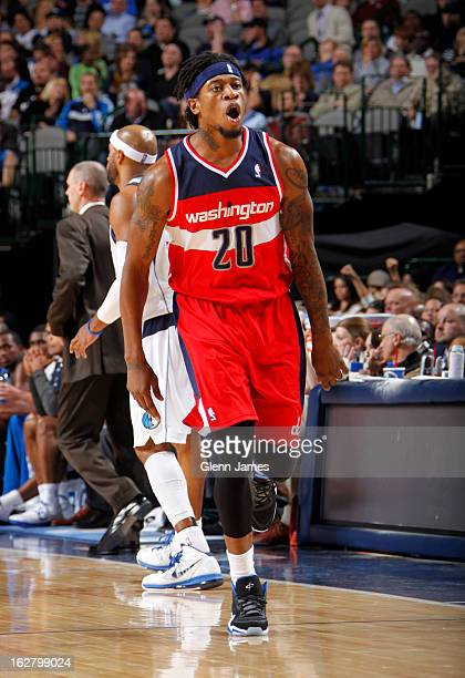 Cartier Martin of the Washington Wizards yells on the court during the game against the Dallas Mavericks on November 14 2012 at the American Airlines...