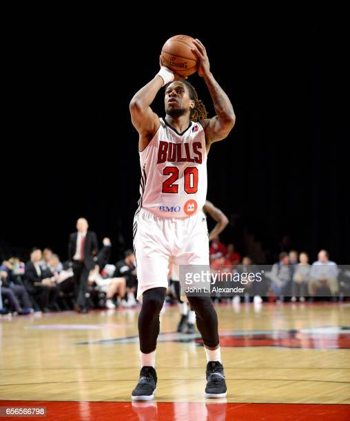 Cartier Martin of the Windy City Bulls at the free throw line against the Westchester Knicks on March 21 2017 at the Sears Centre Arena in Hoffman...