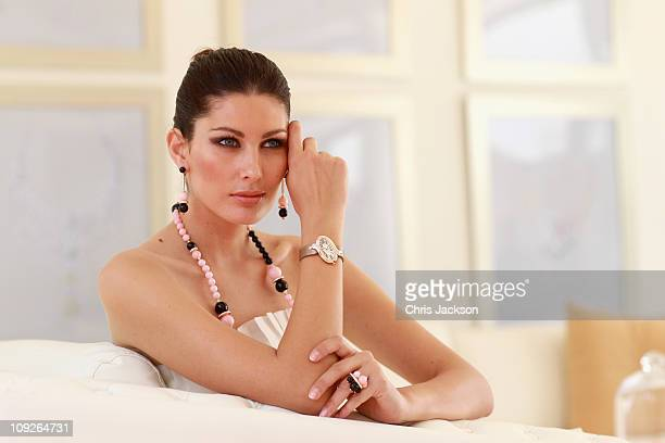 Cartier model poses in the Cartier Villa at the Cartier International Dubai Polo Challenge at the Desert Palm Hotel on February 18 2011 in Dubai...