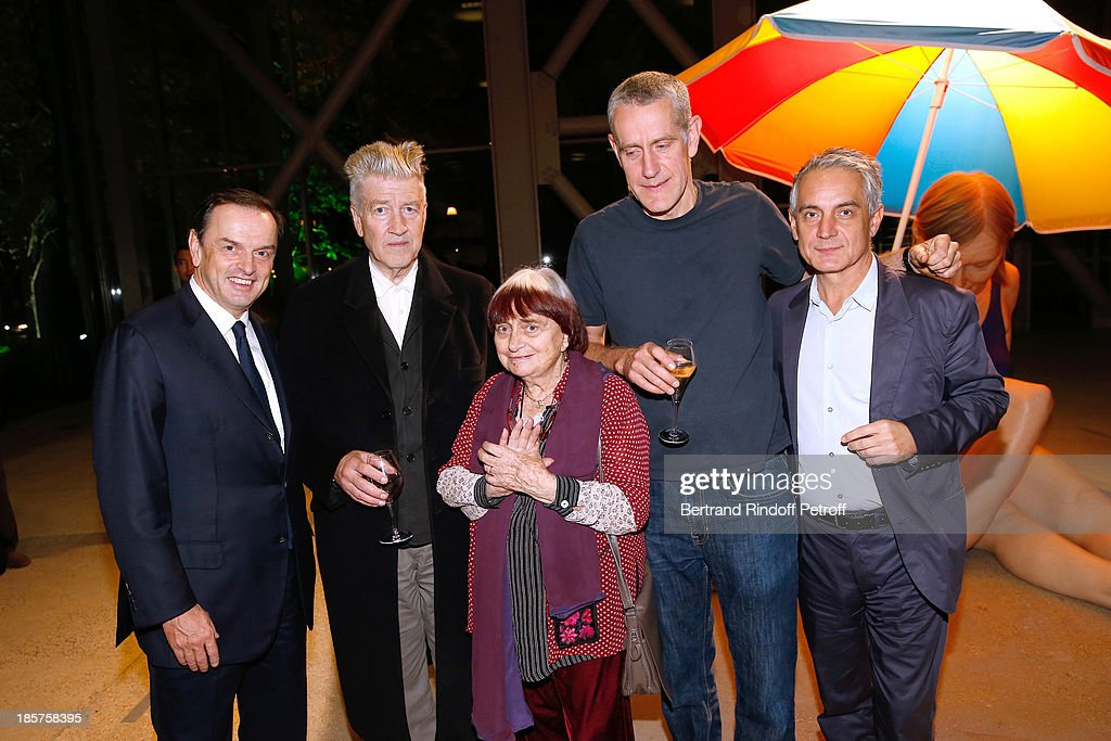 CEO Cartier Stanislas de Quercize, David Lynch, photographer Agnes Varda, contemporary artist Ron Mueck and General Manager of Fondation Cartier Herve Chandes attend the 'Ron Mueck' Exhibition : Closing Night at 'Fondation Cartier pour L'Art Contemporain' on October 24, 2013 in Paris, France.