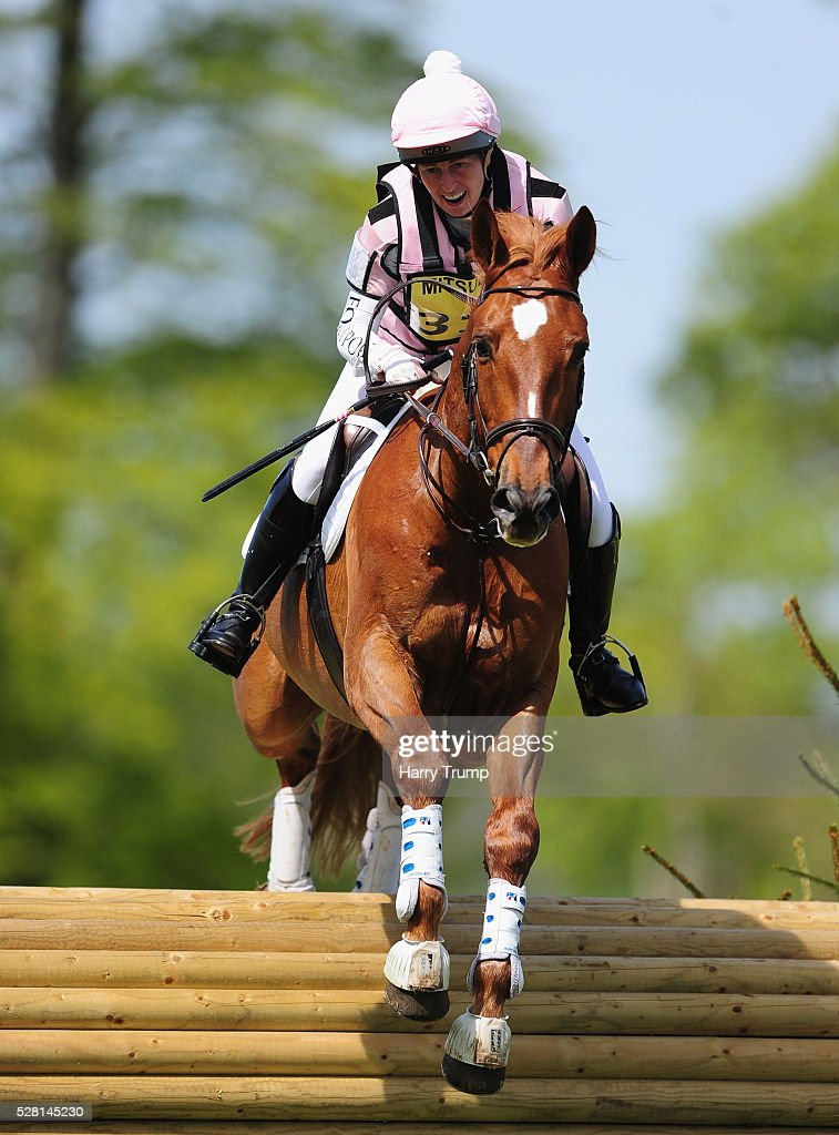 Cartier VD ridden by Sarah Roberts make their way around the course during the Mitsubishi Motors Cup Cross Country Race during Day One of the Badminton Horse Trials on May 4, 2016 in Badminton, United Kindom.